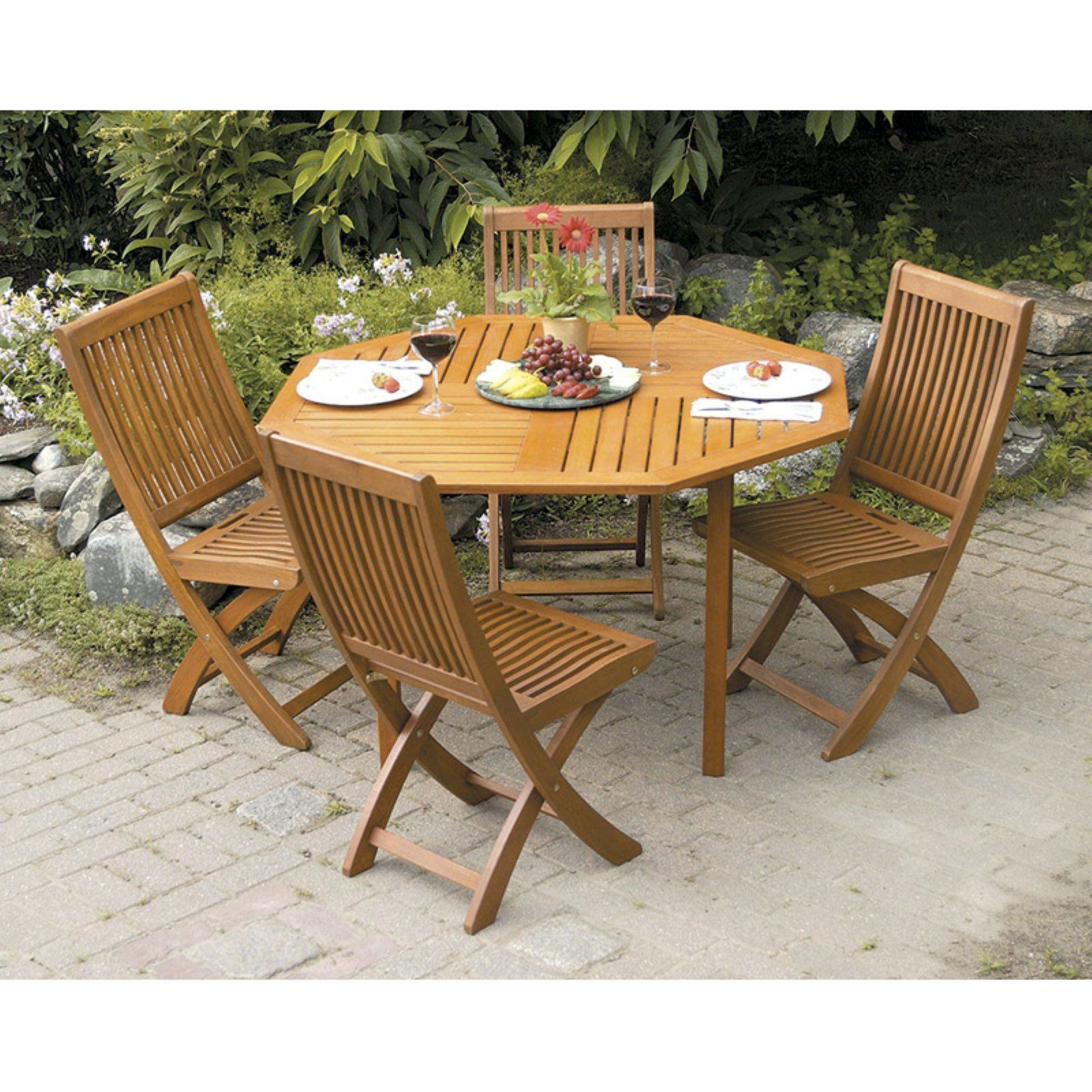 Outdoor Achla Eucalyptus Wood 5 Piece Octagonal Patio Dining Set