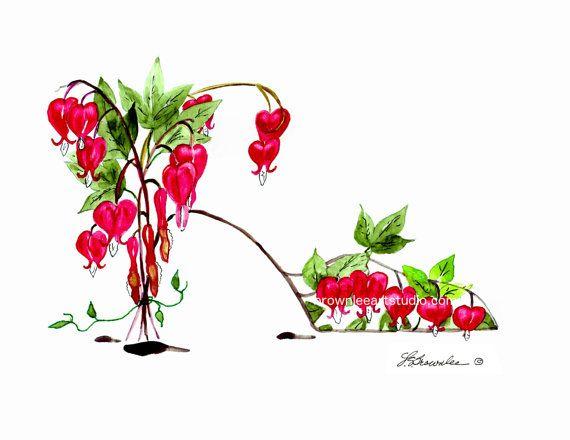 Bleeding Heart Fleur Chaussure Print 2011 Renforcee Avec De La