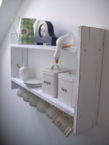 Large Wide 74cm White Shabby Chic Shelving Unit With Cup Hooks Shabby Chic Shelves, Furniture, Shelf, Bookcase, Kitchen, Bathroom, Bedroom Shelves, http://www.amazon.co.uk/dp/B008HD3KM2/ref=cm_sw_r_pi_awdl_4-7YvbADNJPB7