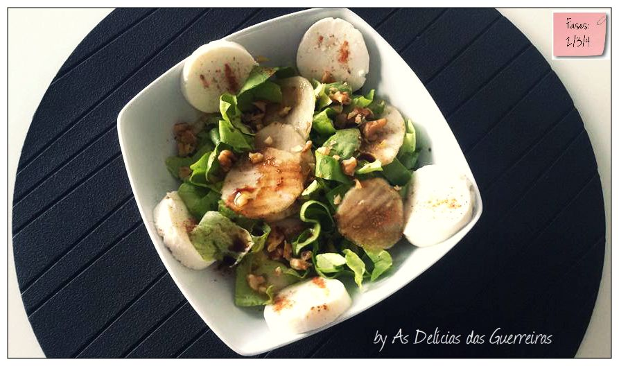 As Delícias das Guerreiras: Salada de pêra, nozes e queijo fresco
