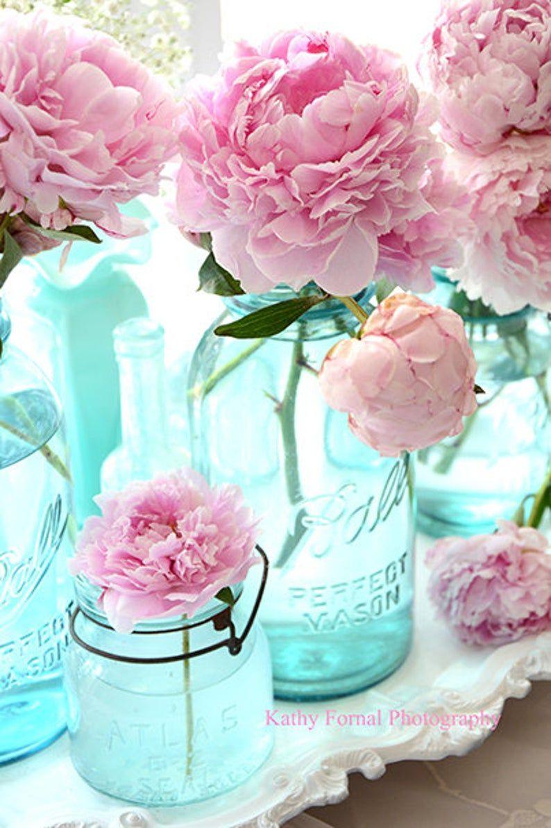 Shabby Chic Decor, Peony Prints, Peony Flower Wall Prints, Peonies Aqua Mason Jars, Peony Photos, Peony Prints, Pink Peonies Flower Prints