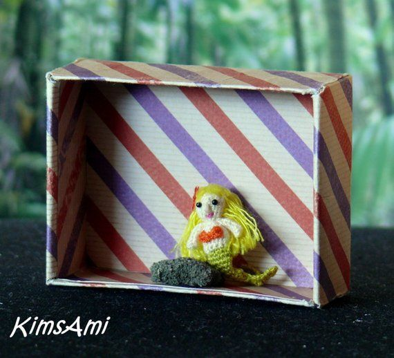 miniature amigurumi mermaid with blonde hair comes with