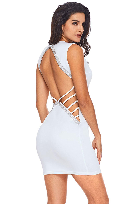 2af052a895f Robe moulante à col en V et découpe -Blanc Argent - Vêtements Sexy ...