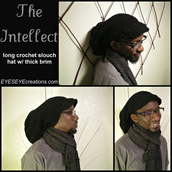 THE INTELLECT - long crochet slouch tam, dreadlock hat, black, brim ...