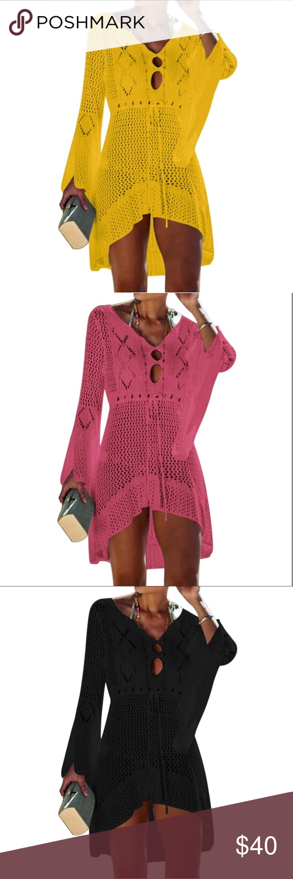 High Quality Crochet Knitted Beach Dress Summer Women Beachwear Sexy White Crochet Tunic Beach Dress Woman Swimwear Swimsuit Cover-ups Bikini Cover Up 100% Polyester  Lightweight  Low ball offers will be Totally ignored  Please send me your reasonable offer  Limited Edition - All Colors available 1 pc AnkarasBest Swim Coverups #crochetbeachdress