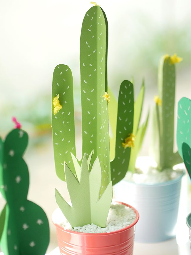 Meixcan Fiesta Make Your Own 3D Paper Cactus For A Kids Birthday