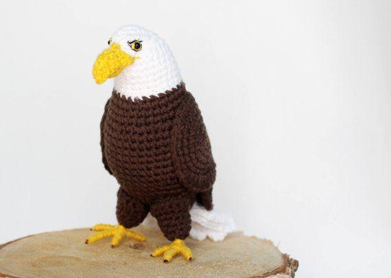 Crochet Bald Eagle Stuffed Animal Plushies Bird Amigurumi Toy Gift