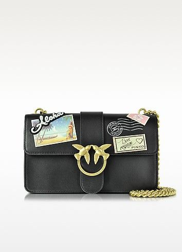 4f11a4b1e608b PINKO Love Souvenir Black Leather Shoulder Bag W Golden Chain.  pinko  bags   shoulder bags  hand bags  leather  lining