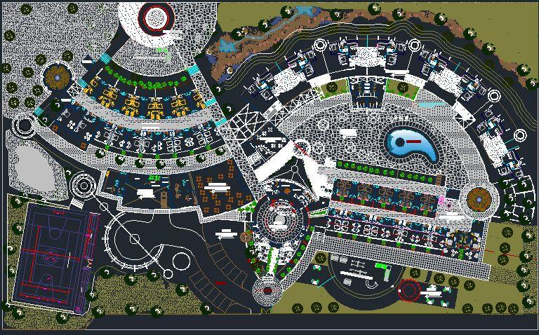 Plan Autocad d\u0027un Hotel AutoCAD - logiciel de plan maison