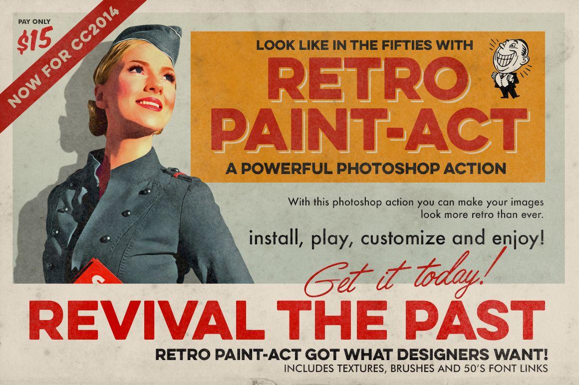 Retro Paint Act Ps Action Kit Photoshop Actions Photoshop Brushes Free Retro