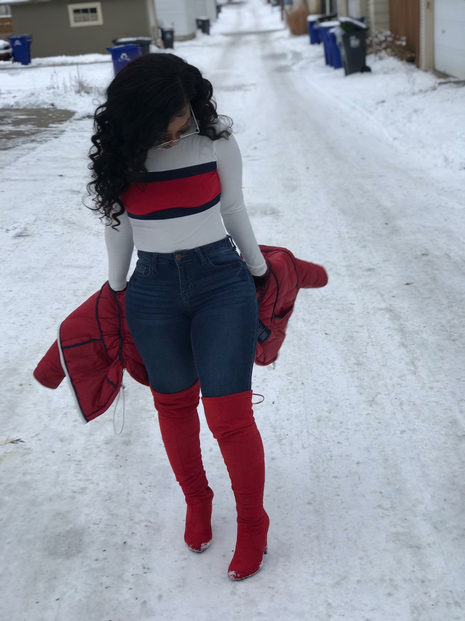 518a8eb10e6 Tommy Hilfiger top with fashionova jeans🔥 stuntin thru the snow😌 follow  keke official✨ for more