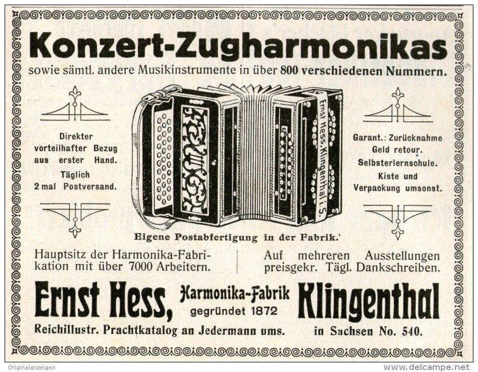 Original WerbungInserat Anzeige 1911 KONZERT