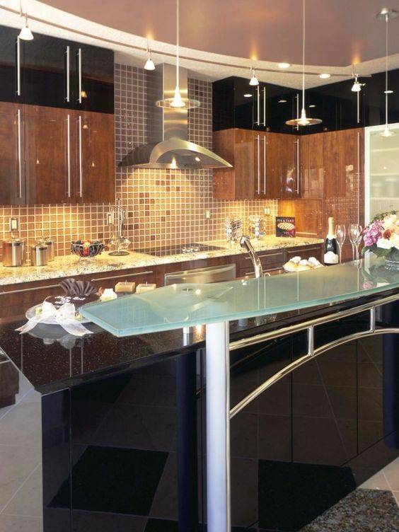 Kitchen. Adorable Glass Kitchen Countertops Design. Frosted Glass Bar  Island Counter Material Option With