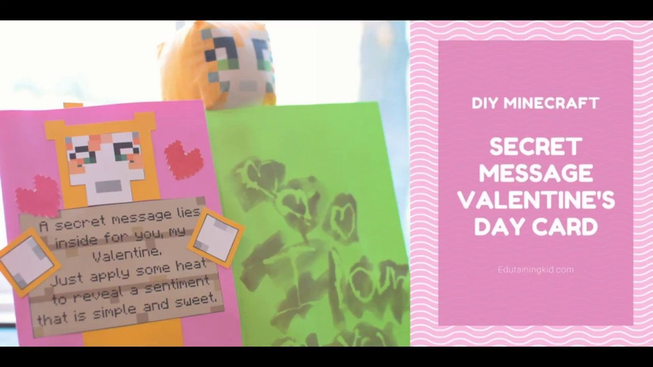 DIY Secret Message Minecraft Valentine\'s Day Card. In this episode ...