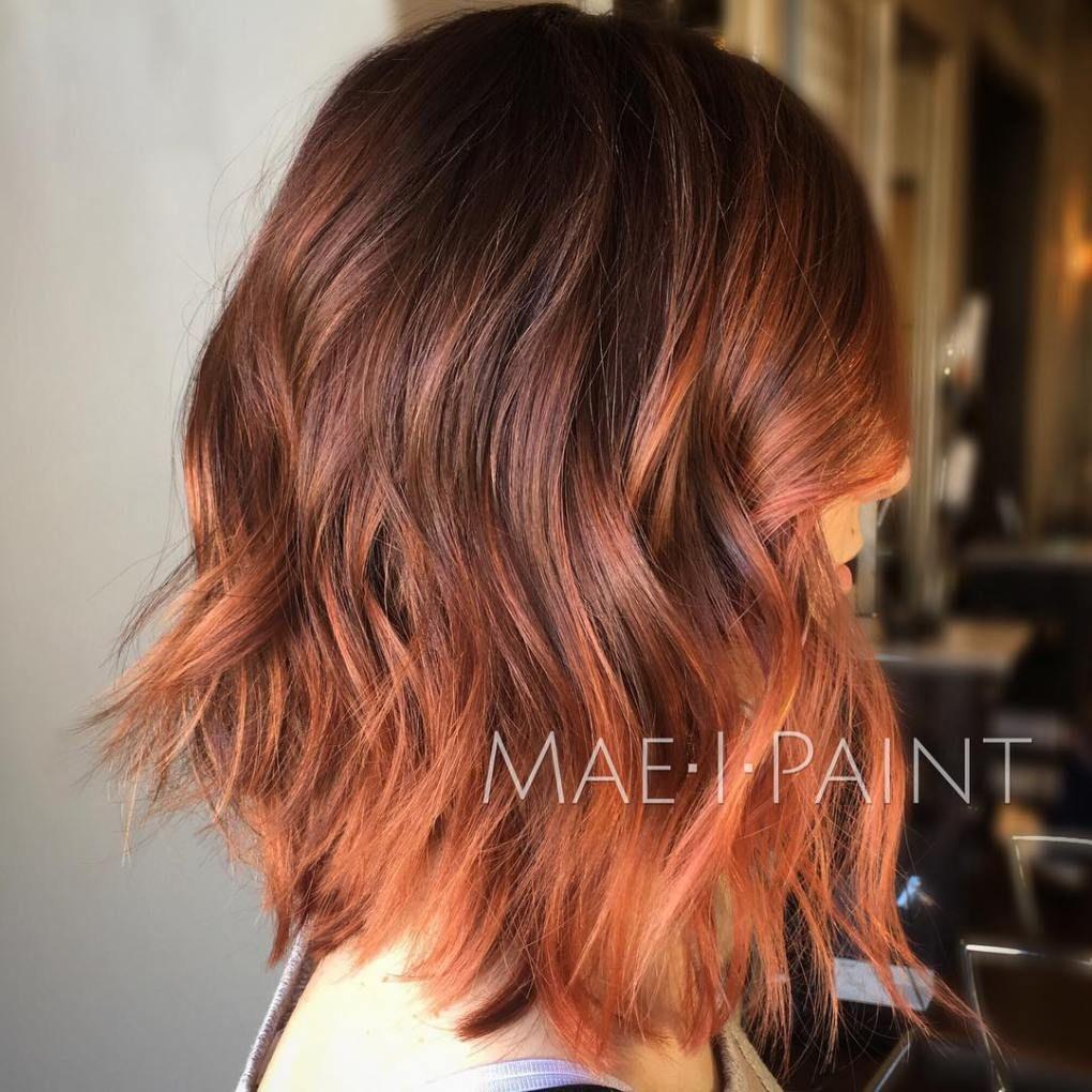 Mid Length Copper Brown Shag Medium Shag Haircuts Medium Length Hair Styles Brunette Hair Color