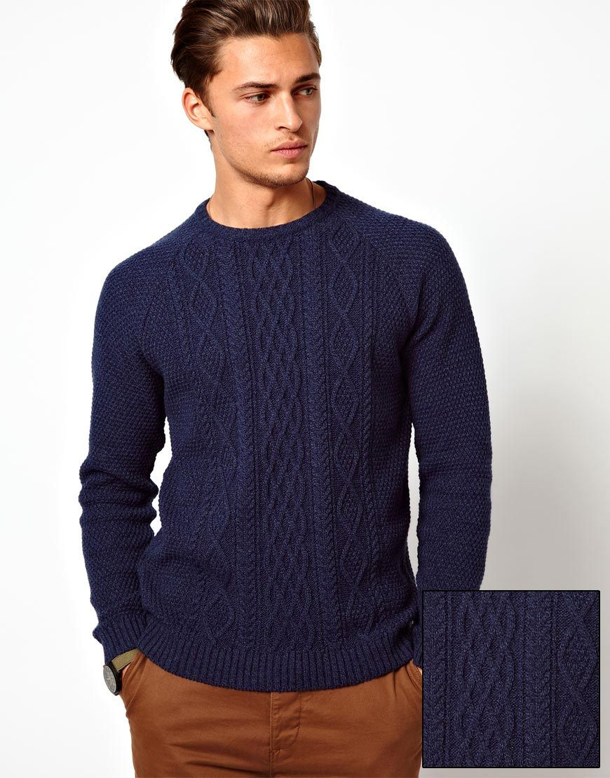 navy blue asos cable knit jumper sweater menswear | knitting men ...