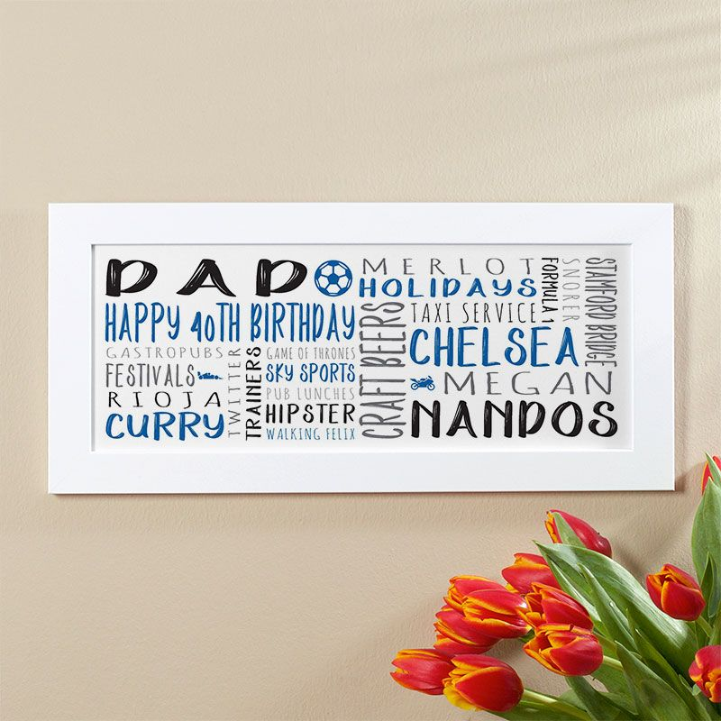 40th Birthday Gift For Men Of Personalised Panoramic Word