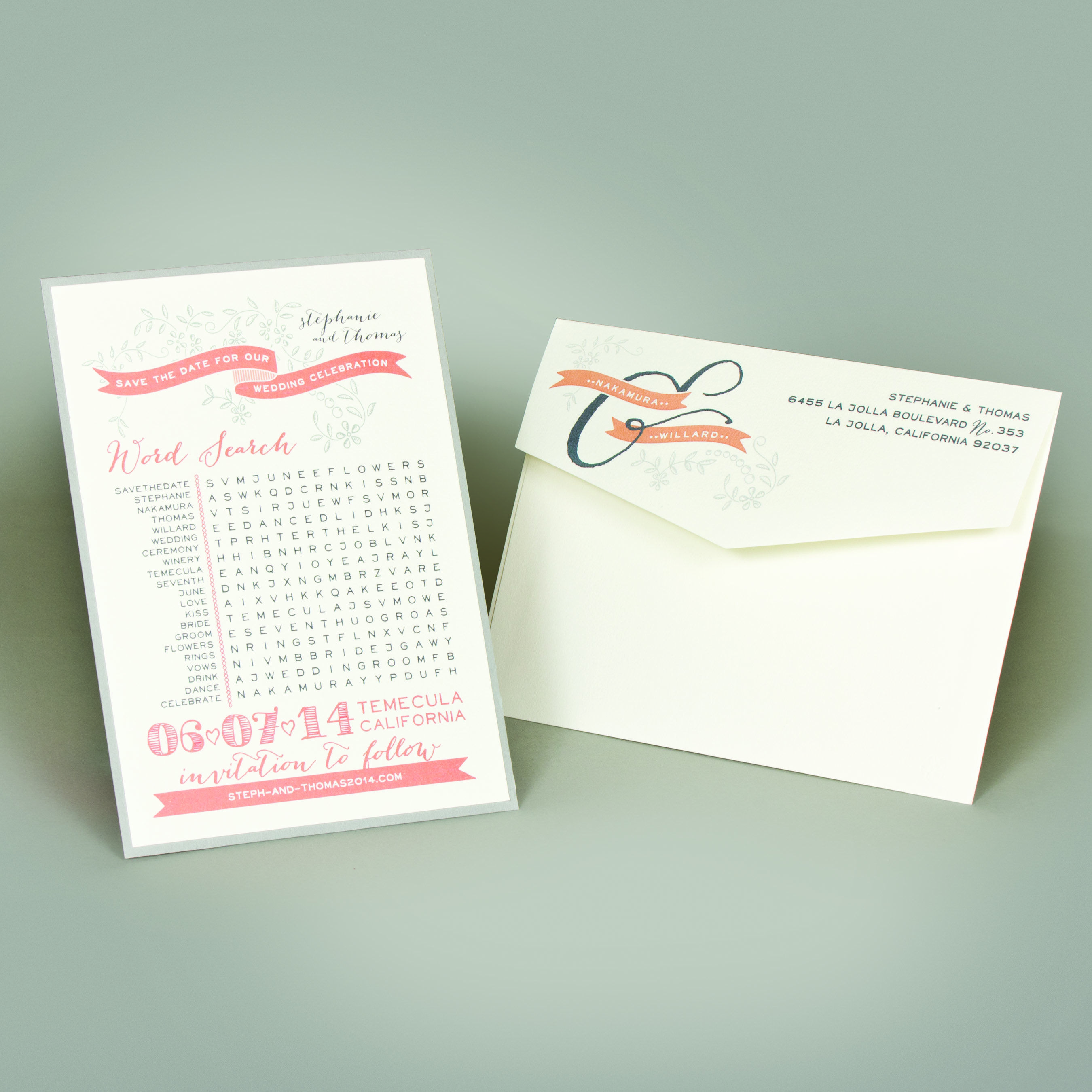 Puzzle lovers everywhere will love the brain game challenge of a word search. On this save the date, Indigo Envelope created a customized word search for the engaged couple. A little nerdy? Perhaps. But we think it's also a fun and different idea your guests will enjoy. #nerdyweddings #savethedate #indigoenvelope