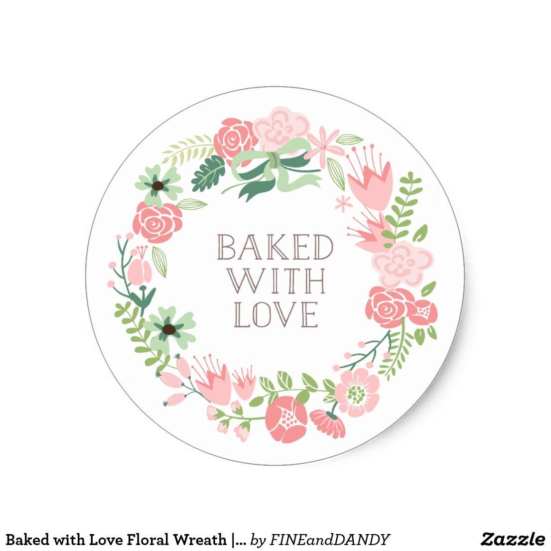 Pegatina Redonda Cocido con la guirnalda floral el | del amor ...