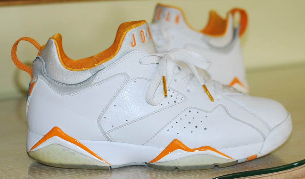 best service 52546 7355a Air Jordan Retro 7 Low - White/Orange Sample | Dope Kicks ...