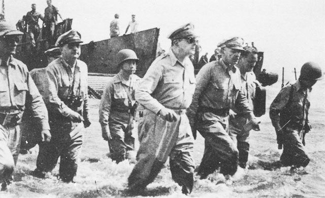 General Macarthur And Staff At Leyte Philippines October 1944 Historical Events History Historical