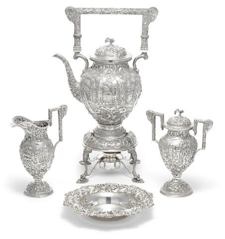 an american sterling silver castle three piece tea service with left facing profile