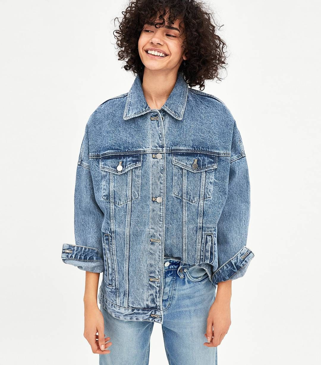 5 Cute Jean Jacket Outfits For Spring In 2021 Jean Jacket Outfits Oversized Denim Jacket Denim Jacket Women [ 1229 x 1080 Pixel ]