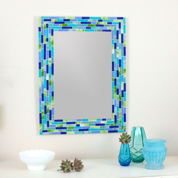 glass mosaic wall mirror in blue and