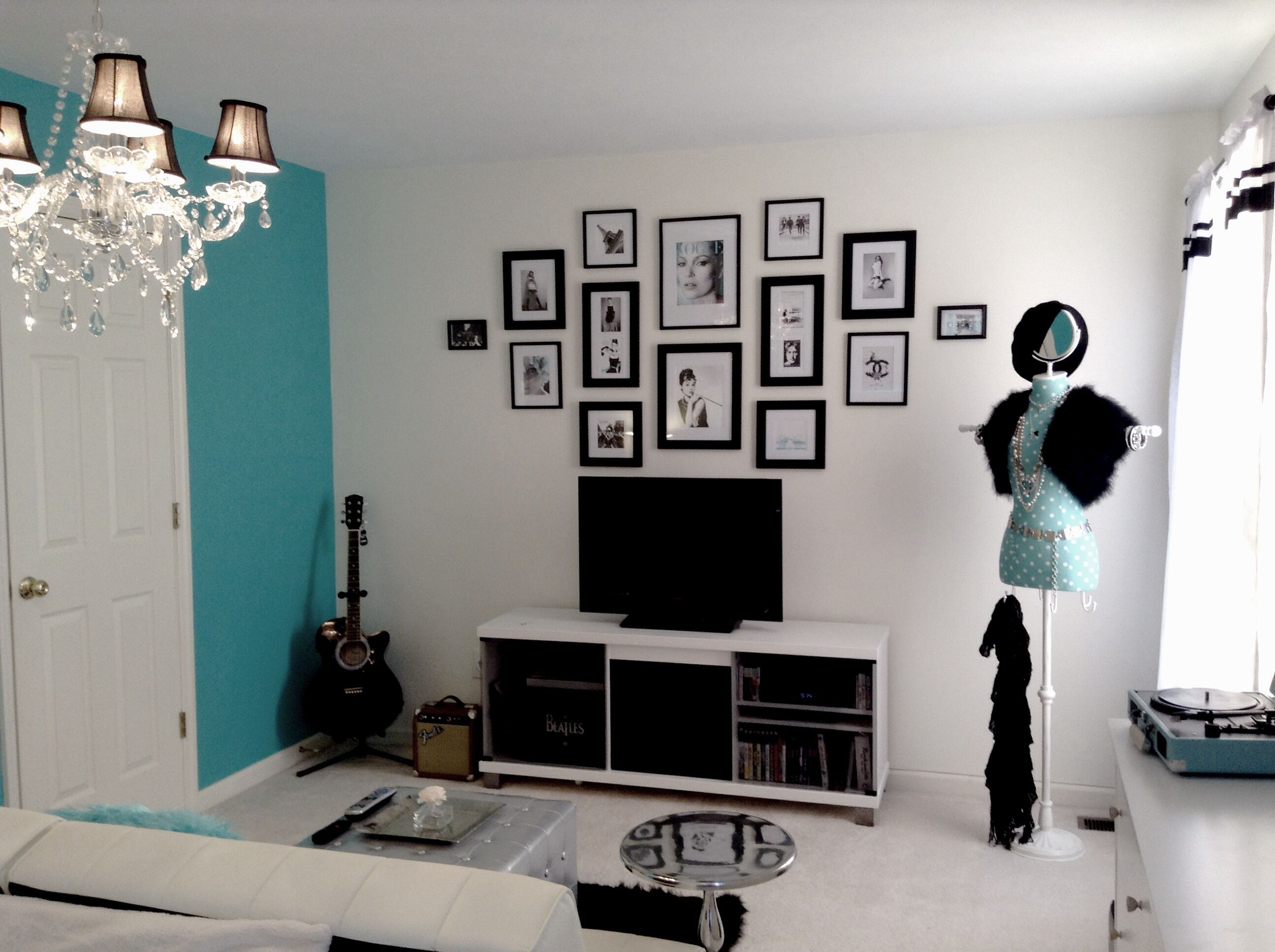 My daughter Cassie\'s new Tiffany inspired room. Two separate framed ...