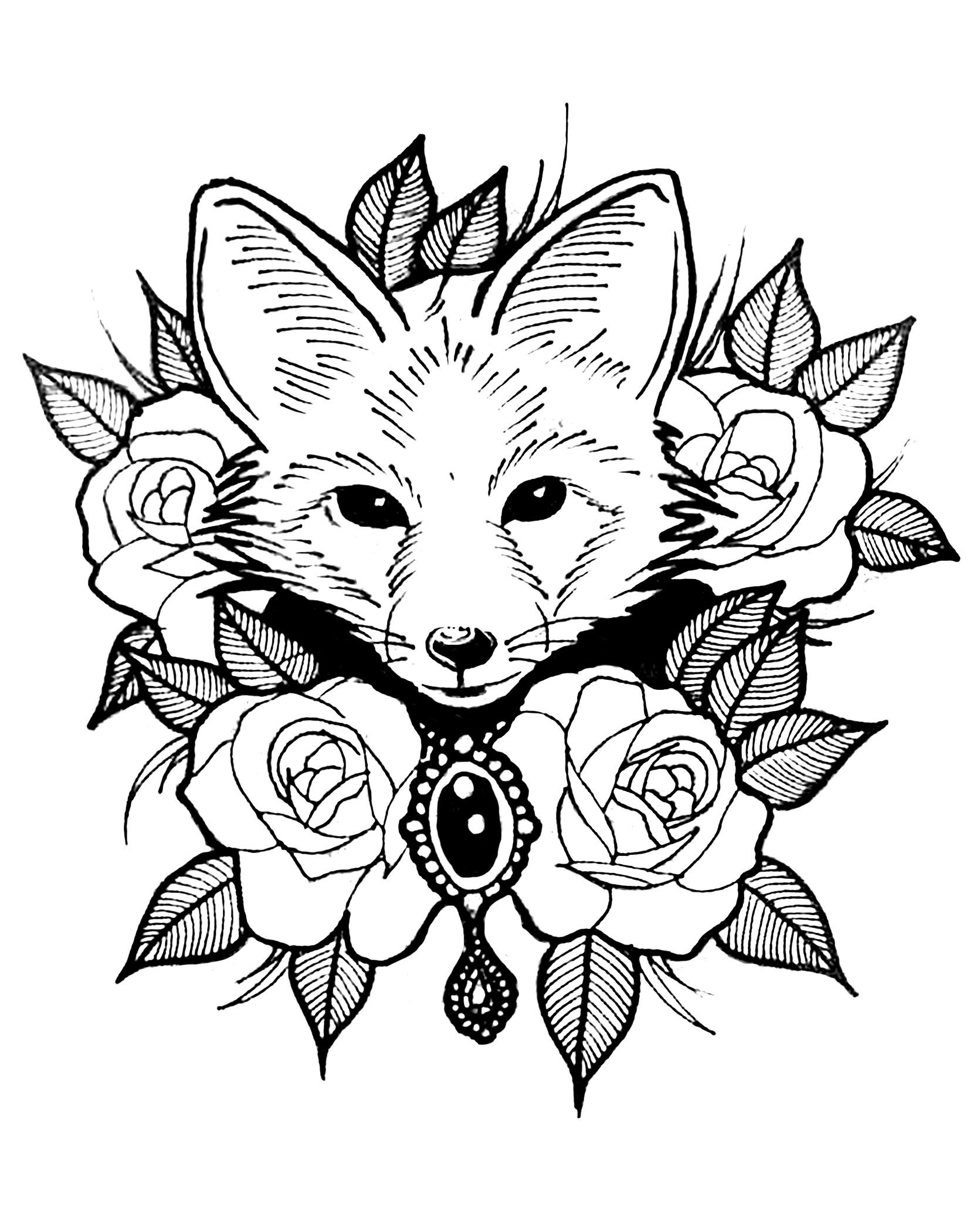 Coloring page with the head of a fox in a center of roses and ...