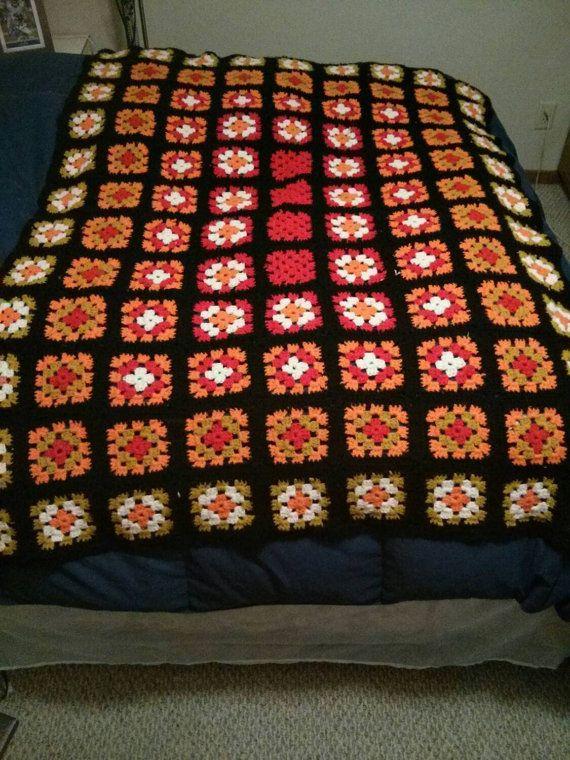 Vintage Granny Square Crochet Blanket by VintageDigsFindsEtc