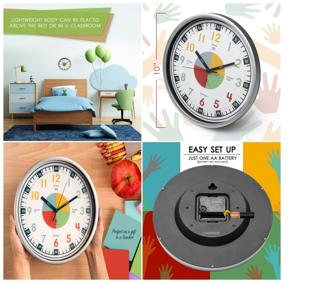 Educational Wall Clocks For Kids Teaching Clock With Silent Movement School Tool Owlconic Kids Teaching Clock Learning Time Kids Learning
