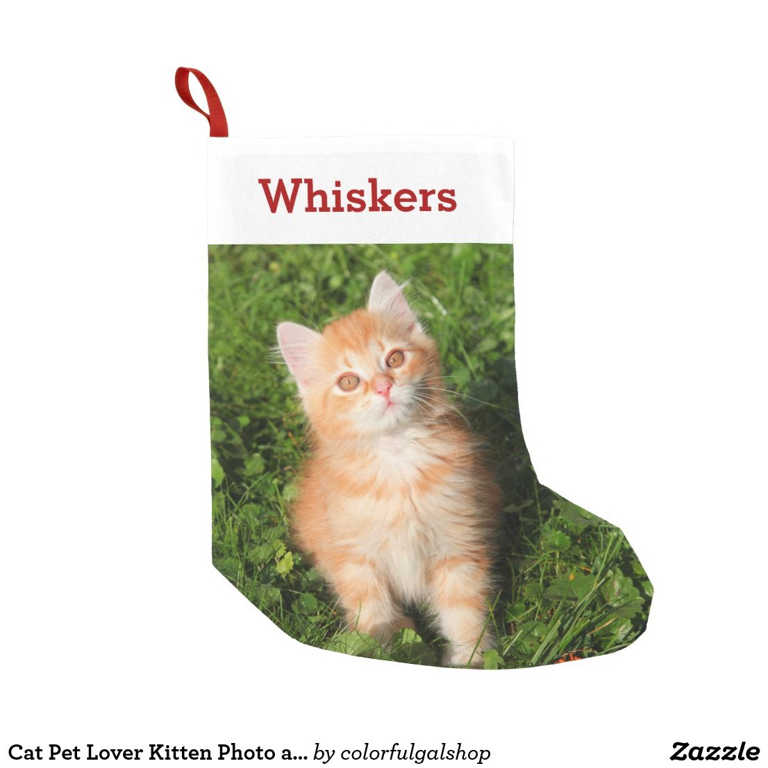 Cat Pet Lover Kitten Photo And Name Personalized Small Christmas Stocking Zazzle Com Kitten Photos Small Christmas Stockings Pet Christmas Stockings