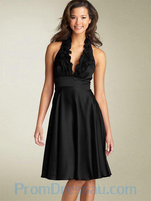 V Neck Halter Short Black Satin Bridesmaid Dress In New York