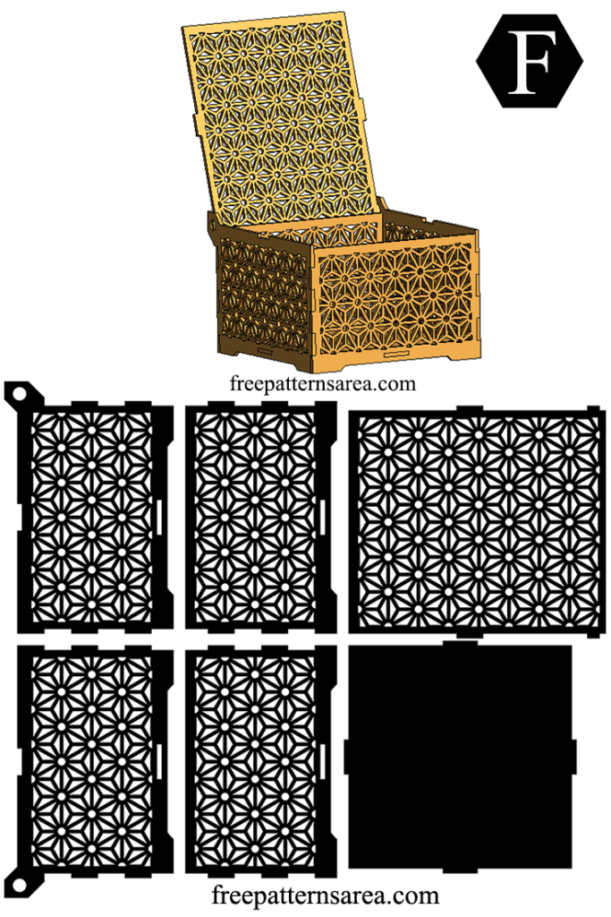 Wooden Laser Cut Box Design with Geometric Flower Ornament | doing