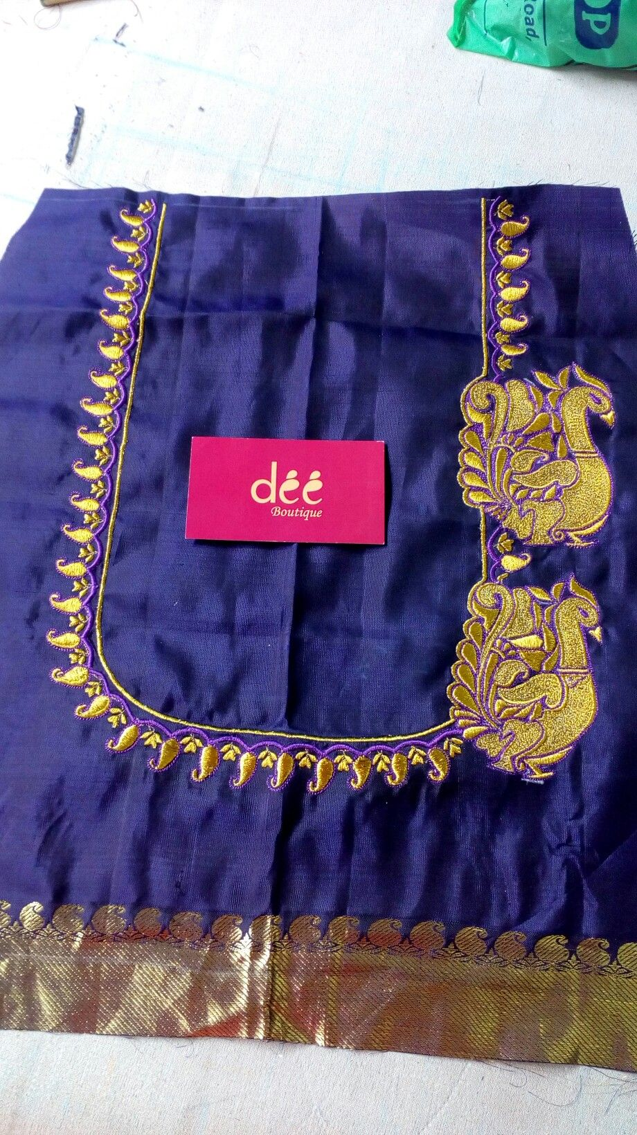 7903e9d8d3ea8 Embroidery peacock work on silk saree blouse