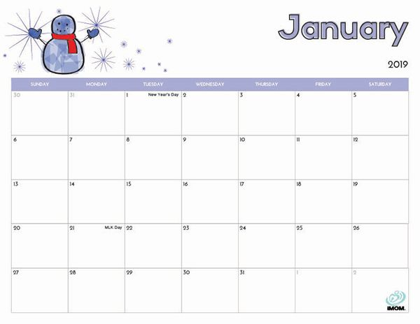 2019 Free Printable Calendar for Kids Printables - only free