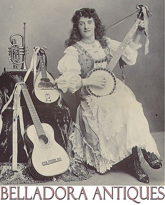 Gypsy playing Banjo Occupational Photo c1890 with Guitar