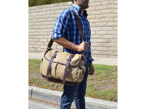 6f07f2bbd8 High-End Canvas   Leather Student Travel Messenger Bag - 17