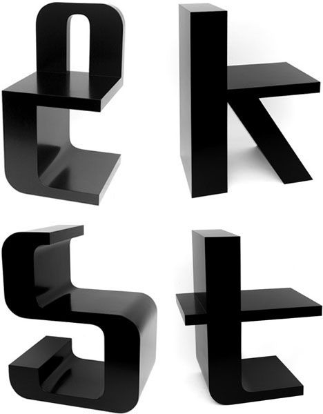 Furniture letters, Typography, Unique, Interesting chair ...