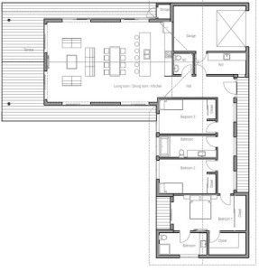 Plano De Vivienda Moderna Con 3 Dormitorios Y 1 Planta Planos De Casas Modern House Plans Floor Plans Floor Plans Ranch