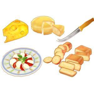 エダムチーズ、カプレーゼ(トマトのサラダ)、カマンベール、ゴーダチーズ、ゴルゴンゾーラ、スモークチーズ(2種類)、チーズナイフ、プロセスチーズ(6Pとか)、穴あきチーズ ...