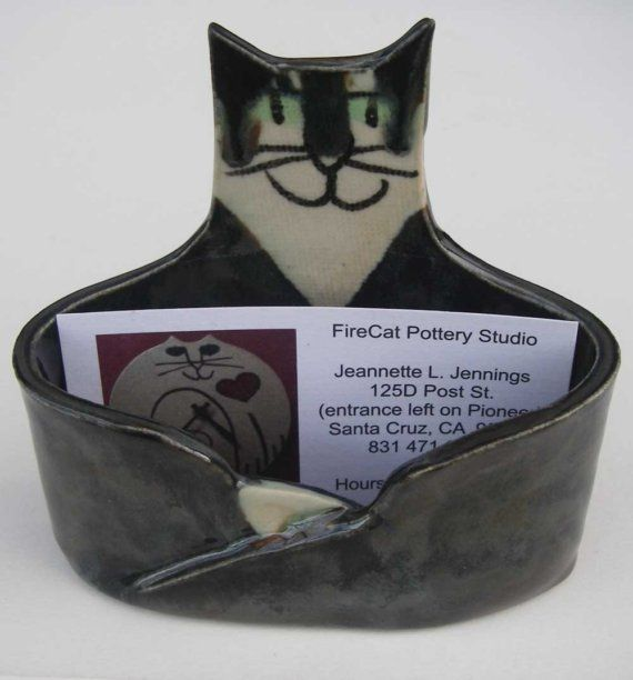 Cat lover business card holder ceramic custom handmade by firecat cat lover business card holder ceramic custom handmade by firecat 3000 colourmoves Choice Image