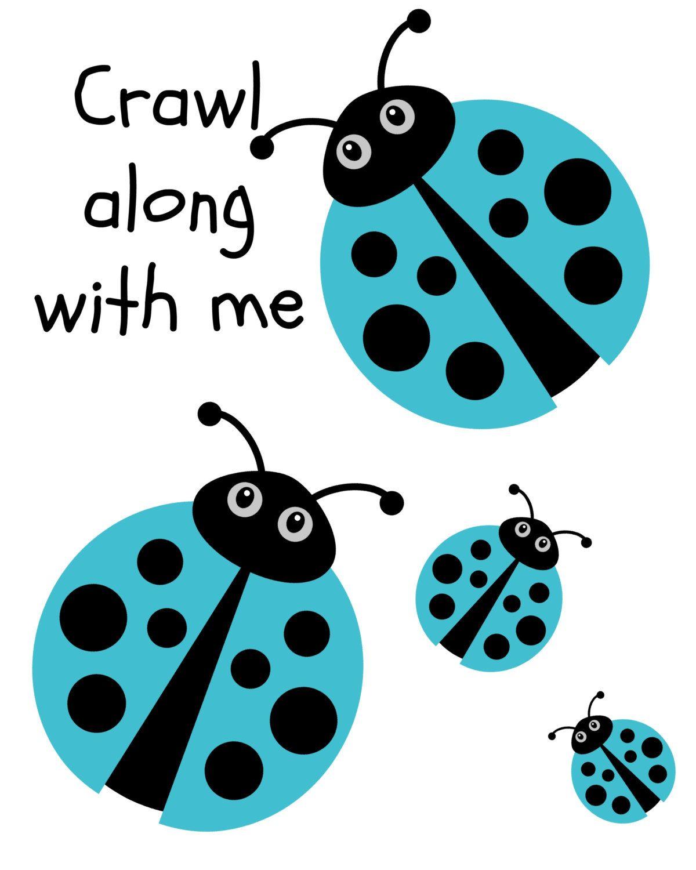 Crawl Along With Me Blue And Black Ladybug 8x10 Digital Print For