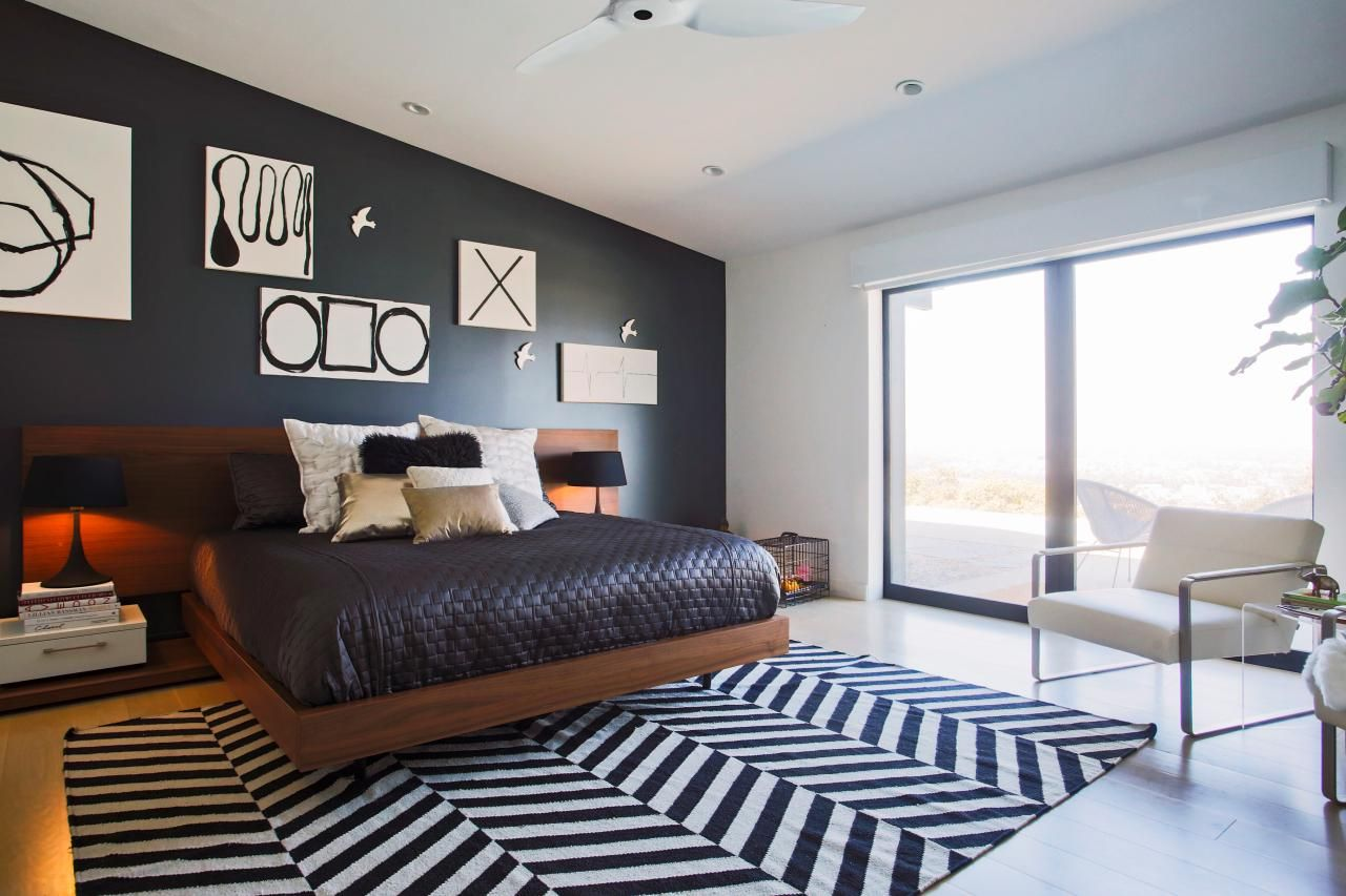 Modern Black And White Bedroom With Floor To Ceiling Windows Bedroom Wall Designs Wall Decor Bedroom Bedroom Wall