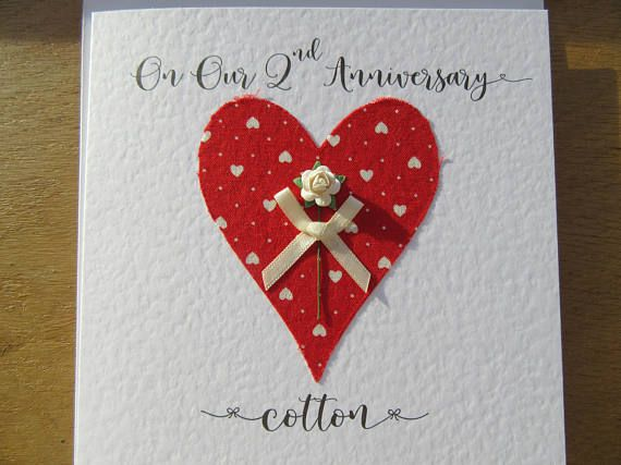 2nd Wedding Anniversary Card Cotton 2nd Anniversary 2 Years Marriage Keepsake Husband Wife Gift 2nd Wedding Anniversary Wedding Anniversary Cards Anniversary Cards