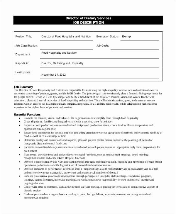 Dietary Aide Job Description Resume Elegant Sample Dietary