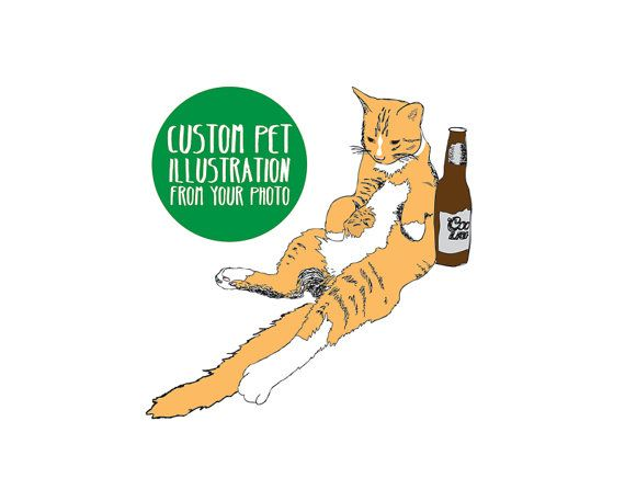 custom pet illustration drawing personalized dog or cat portrait 8x10 art print gift custom pet lovers art