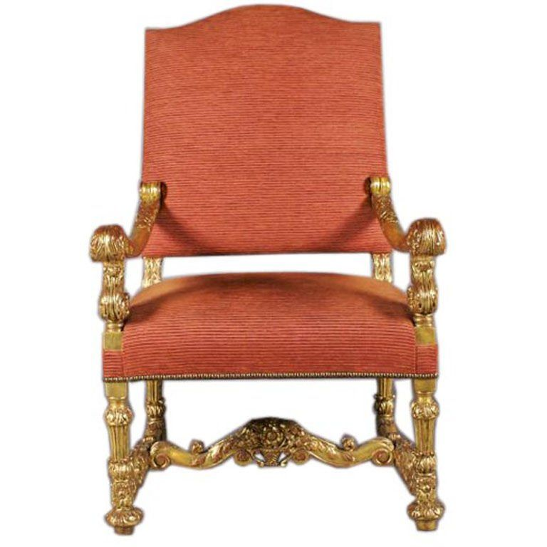Monumental 19th Century Baroque Style Giltwood Armchair in 2018