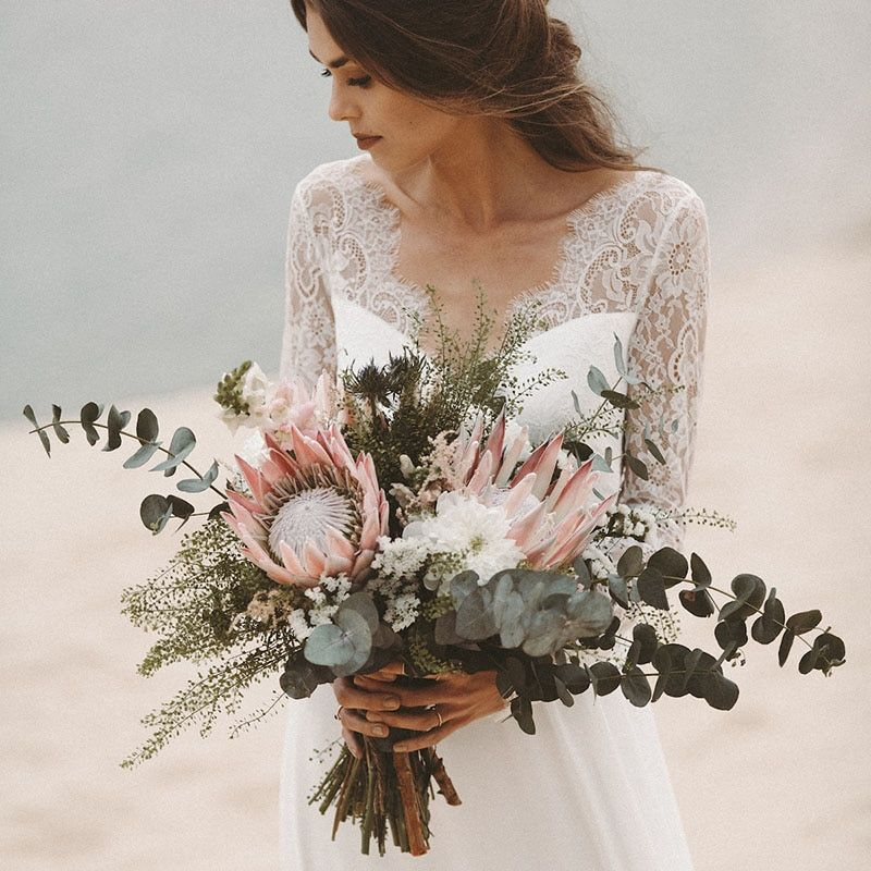 Beach Wedding Dresseswith Long Sleeves V Neck A Line Lace Bridal